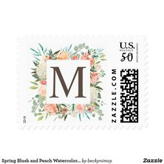Spring Blush and Peach Watercolor Florals Monogram Postage - floral bridal shower gifts wedding bride party Wedding Shower Gifts, Diy Wedding, Wedding Gifts, Wedding Bride, Custom Postage Stamps, Monogram Styles, Monogram Gifts, Bridal Gifts, Floral Watercolor