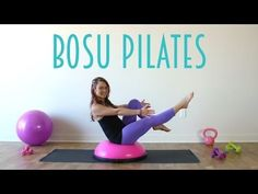 This BOSU Pilates workout uses this special prop to challenge your stability and balance in traditional Pilates exercises. This BOSU Pilates workout uses this special prop to challenge your stability and balance in traditional Pilates exercises. Bosu Workout, Pilates Workout Videos, Pilates Training, Pilates Video, Pilates Moves, Pilates Reformer, Body Training, Workout Routines, Bosu Ball
