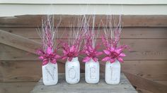 Hot Pink and White NOEL Mason Jar Set! by ToastyBarkerBoutique on Etsy