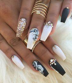 Yes or No?  Via @vanessa_nailz . . . #nails #nail #fashion #style #cute #beauty #nailartaddict #beautiful #mode #instagood #pretty #girl #girls #stylish #sparkles #styles #glitter #nailart #art #opi #glamlabel #essie #preto #branco #rosa #love #shiny #polish #nailpolish #nailswag
