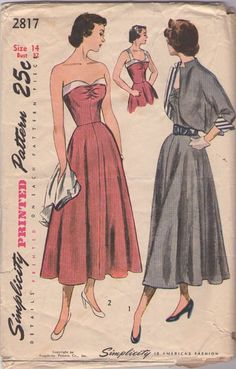 Simplicity 2817 Vintage 40's Sewing Pattern BEAUTIFUL Strap or Strapless Foldover Band, Shirred Bust Party Dress, SNAZZY Lined French Cuffs Bolero Swing Back Jacket #MOMSPatterns