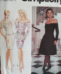 1991 Simplicity Pattern  7568-Misses' Off The by PaperWardrobesEtc