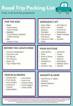 Here is the Ultimate Summer Road Trip Packing List with everything you need to enjoy your trip, avoid mishaps, and keep the whole family happy rolling on down the road! Tons of tips, suggestions and ideas to make summer traveling easier. Holiday Packing Lists, Packing List Beach, Packing List For Cruise, Packing List For Vacation, Travel Packing, Packing Tips, Travel Hacks, Travel Tips, Vacation Travel