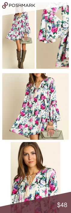 New Arrival- Spring Floral Dress Super cute floral dress featuring bell sleeves. Perfect for spring. Pair with ankle boots or heels for a chic look. Brand new. Price is firm unless bundled. Thank you  Dresses