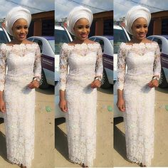Latest Aso Ebi Styles 2016: White Lace Styles For Wedding 6http://www.dezangozone.com/2016/05/latest-aso-ebi-styles-2016-white-lace.html