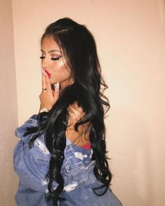 Black Wigs For Black Women Lace Frontal Bellatrix Lestrange Wig Curly Full Lace Wig Black Roots Blue Hair Mens Afro Wigs Loose Hairstyles, Pretty Hairstyles, Straight Hairstyles, Long Black Hair, Dark Hair, Hair Inspo, Hair Inspiration, Curly Hair Styles, Natural Hair Styles