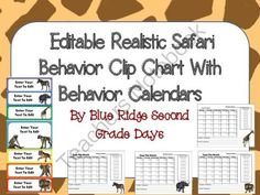 Editable Realistic Animal Behavior Chart and  Editable Behavior Calendars from Blue Ridge Second Grade Days on TeachersNotebook.com -  (25 pages)  - Need a cute  animal behavior chart that is not too cutesie for older students.  This animal chart has graphics of realistic animals.  This set includes 2 editable behavior charts and  calendars.
