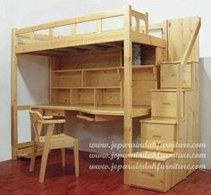 Loft Beds: Maximizing The Area Of Small Spaces – Bunk Beds for Kids Bunk Bed With Desk, Bunk Beds With Stairs, Kids Bunk Beds, Loft Beds, Small Room Bedroom, Bedroom Loft, Bedroom Decor, Loft Bed Plans, Bunk Bed Designs