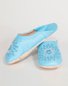 Ladies Moroccan Slippers - Blue