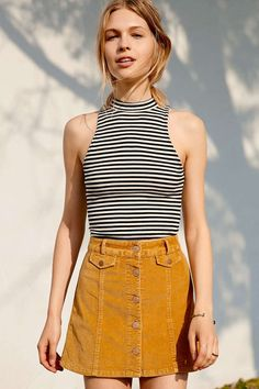 corduroy skirt and striped top