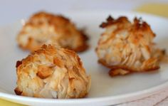 Paleo Coconut Macaroons are easy to make and perfect for Passover and Easter. All you need is 4 ingredients --flaked coconut, egg whites, honey, and salt.