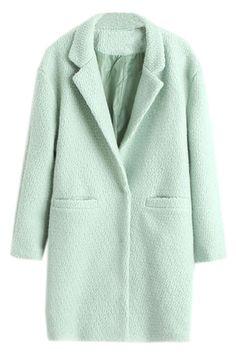 ラペルスリム薄いライト グリーン ウール コート