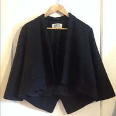 BB Dakota Black Open Blazer, Cropped Textured waffle exterior, fully lined. Three-quarter sleeves. Only worn a couple of times. BB Dakota Jackets & Coats Blazers