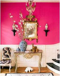 Shocking Pink Walls for Entryway