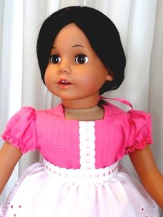 8e070b4fa9c0bf Hot Pink Doll Dress With White Eyelet Apron / 18 Inch Doll Clothes / Doll  Clothing
