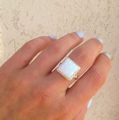 White Opal Ring - Silver Ring - Square Crown Ring - Gemstone Ring - Opal Jewelry - Promise Ring - Delicate Ring - Bridal Gift