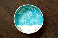 Ceramic serving bowl - black serving bowl - face illustrated bowl in Black…