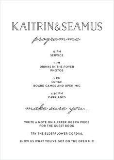 Type Frame Wedding Program