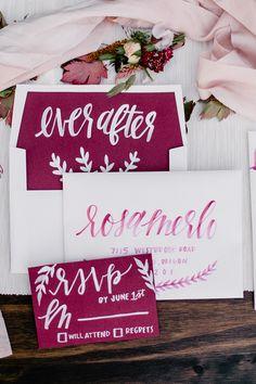 wedding invitations with calligraphy - photo by Gina Paulson Photography http://ruffledblog.com/fall-calligraphy-wedding-inspiration