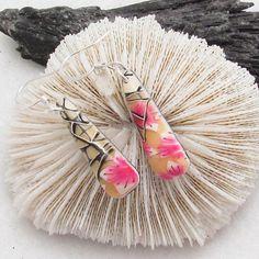 Polymer Clay Cherry Blossom Tear Drop Earrings. Handmade earrings, flower earrings