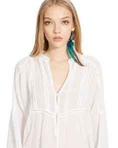 Pintucked Cotton Gauze Top - Shop All Apparel - Ralph Lauren France