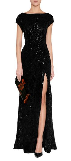 Black Draped Sequined Gown by Elie Saab dollars) Lanvin, Givenchy, Balenciaga, Valentino, Gala Dresses, Event Dresses, Beautiful Evening Gowns, Beautiful Dresses, Black Tie Attire