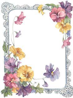 Frame with pansies Vintage Diy, Vintage Frames, Vintage Paper, Decoupage, Boarders And Frames, Printable Frames, Foto Transfer, Borders For Paper, Paper Frames