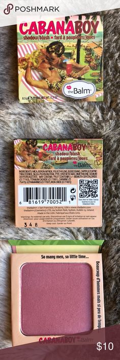 The Balm. Cabana Boy Shadow/Blush The Balm. Cabana Boy Shadow/Blush.  Usage shown in pics.   Please No 🚫 Trades. My prices are Not Firm , so send me an offer using the offer button. Please be considerate. 😉🖲👍🏼  My Bundle Discount is 10% off 2 or more items from my closet.   📬📦Average Ship Time: 0.8 Days📦📬 The Balm Cosmetics Makeup Blush
