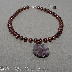 Pearl and Red Flower Jasper Pendant Necklace by MixedMediaDesigns1, $79.00