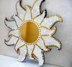 espejos espejo mosaiquismo grandes 60 cm  deco - ofertas Mirror Mosaic, Diy Mirror, Mosaic Art, Mosaic Glass, Mosaic Crafts, Mosaic Projects, Space Saving Shoe Rack, Jewelry Mirror, Sun Art