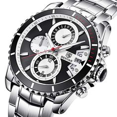 Montres Homme Luxe Bracelet en Acier à Quartz analogique Entreprise Montre  Bracelet avec chronographe Date étanche ce01a66c19e