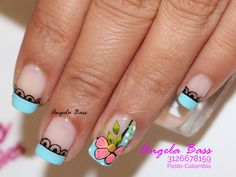 Decoración de Uñas con Flores, uñas flores, flores en uñas, flores fáciles en uñas. La Nails, Pedicure, Nail Art Designs, Beauty, Art Nails, Nail Hacks, Creative Nails, Nail Designs, Nail Art