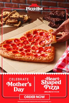 "Need Mother's Day gift ideas? We got you. Nothing says, ""I love you, Mom,"" like a Heart-Shaped Pizza and dessert. Products arrive uncut. I Love You, You Got This, Heart Shaped Pizza, Pizza Hut, Celebrities, Day, Te Amo, Celebs, Je T'aime"
