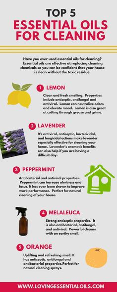 Essential Oils For Cleaning Infographic. http://www.lovingessentialoils.com/blogs/essential-oil-tips/77849731-top-5-essential-oils-for-cleaning Do you use essential oils in cleaning? Wondering how to clean with natural cleaners?  Here are the top 5 oils for cleaning: Lemon, melaleuca, orange, lavender and peppermint.