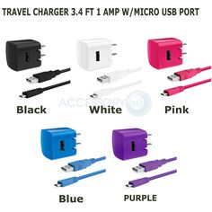 Delton Core 2PC 1AMP Wall Travel Charger+Micro USB Port 3.4 FT Sync/Charge Cable #Delton