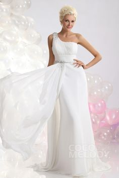 Fairy-tale Sheath-Column One Shoulder Sweep-Brush Train Chiffon Wedding Dress CWLT13051 #weddingdresses #cocomelody