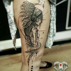 India Tattoo Sketches, Tattoo Drawings, Indian Tattoos, Indian Headdress Tattoo, Tattos, Leg Tattoos, Sleeve Tattoos, Body Art Tattoos, Girl Tattoos