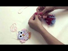 Chaveiro com pingentes de lã e coruja em feltro - YouTube