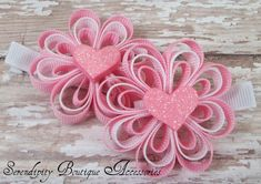Heart and Ribbon hair clips.