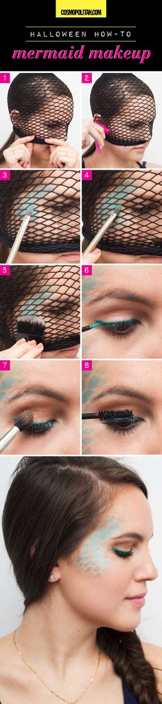 "Try this easy mermaid makeup look by using fishnet tights to stencil some ""scales"" on your face. Once the tights are over your face, add shimmery blue eye shadow around your temples. Apply shimmery gr"