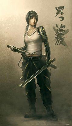 Samurai cyborg chick