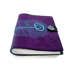 Embroidered Faux Suede Journal Peacock Plum