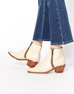 H by Hudson Azi Off White Leather Ankle Boots