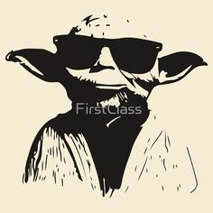 """Yoda glasses """"Star Wars"""" - Black by FirstClass Bullet Journal Stencils, Quirky Decor, Star Wars Birthday, Star Wars Tshirt, Pyrography, Art Pictures, Silhouette Cameo, Painted Rocks, Vector Art"""