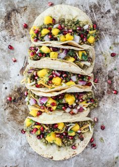 Vegetarian lentil tacos in an amazing homemade salsa verde green sauce then topped with a mango-pomegranate pico. Healthy & so flavorful! tacos about 400 cals) Vegetarian Cooking, Vegetarian Recipes, Cooking Recipes, Healthy Recipes, Delicious Recipes, Healthy Foods, Tasty, Yummy Food, Meals Under 400 Calories