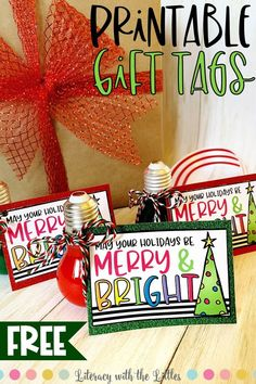 "Use these free holiday gift tags to spread some cheer this season!  This ""Merry and Bright"" theme adds a cheerful touch to all of your Christmas gifts.  Great for all of your holiday wrapping needs.    Neighbor gifts, student gifts, family gifts, free printable, free gift tags, free Christmas tags, holiday gift wrap, merry & bright, easy gift ideas, Christmas gifts, inexpensive gift ideas, fun gift ideas"