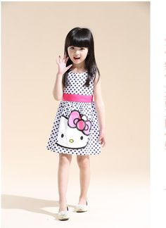VOLALO Hot Sale Summer New Hello kitty Girl Dress Baby Girls Print Dot Dresses Cotton Vestido Infantil Kids Clothes