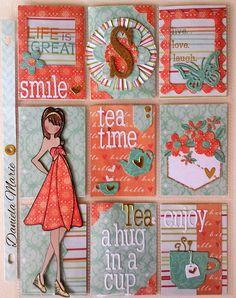 Tea theme Pocket letter - Kate doll By Daniela Alvarado. Prima Paper Dolls, Prima Doll Stamps, Pocket Pal, Pocket Cards, Pen Pal Letters, Pocket Letters, Atc Cards, Paper Cards, Journal Cards