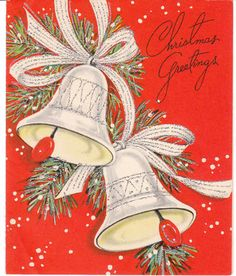 Vintage Christmas Card Bells Glitter Mid Century Red Background Sangamon | eBay