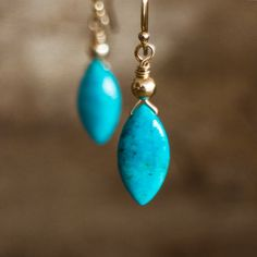 Turquoise Drop Earrings, Gold, Silver Natural Turquoise Earrings, December Birthstone, Genuine Arizona Turquoise Jewellery by AbizaJewelry on Etsy https://www.etsy.com/ca/listing/221606667/turquoise-drop-earrings-gold-silver